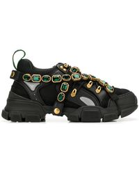 079f66a8b350 Lyst - Gucci Flashtrek Sneaker With Removable Crystals in Green for ...