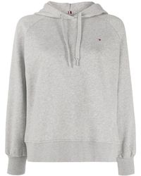 Tommy Hilfiger Logo Back Embroidered Hoodie - Gray