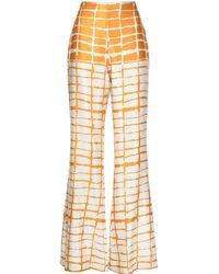 Silvia Tcherassi Pantalones a cuadros de talle alto - Naranja