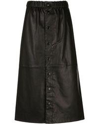 Sea Leather Midi Skirt - Black