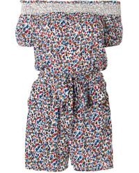 Tory Burch - Floral Off-the-shoulder Playsuit - Lyst