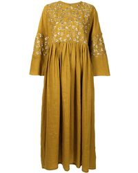 Bambah Lilly Floral Embroidered Kaftan - Yellow