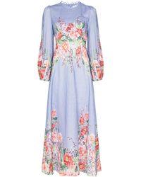 Zimmermann Платье Bellitude С Цветочным Принтом - Синий