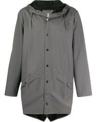 Rains 1202 フーデッド コート - グレー