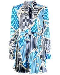 MSGM Платье-рубашка С Принтом - Синий