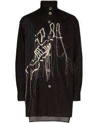 Yohji Yamamoto Embroidered Shirt Jacket - Zwart