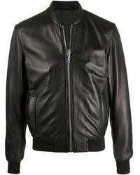 Les Hommes Leather Bomber Jacket - Black