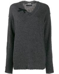 Miu Miu Vネック セーター - グレー