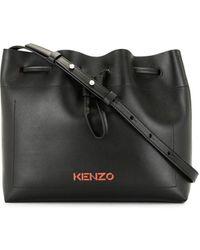 KENZO Cadet Leather Bucket Bag - Black