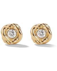 David Yurman 18kt Yellow Gold And Diamond Crossover Stud Earrings - Metallic