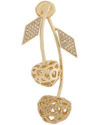 Natasha Zinko 14kt Yellow Gold And Diamond Double Cherry Mini Earring - Metallic
