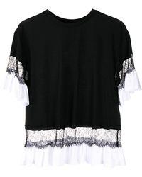 Twin Set レーストリム Tシャツ - ブラック