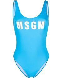 MSGM ロゴ ワンピース水着 - ブルー