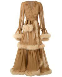 Dolce & Gabbana フェザートリム ラップロングドレス - ブラウン