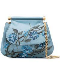 Alberta Ferretti Floral-painted Satin Cross-body Bag - Blue