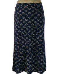 Gucci ネイビー And ゴールド ウール GG スカート - ブルー