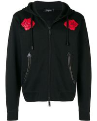 DSquared² - Leather Rose-embroidered Hoodie - Lyst