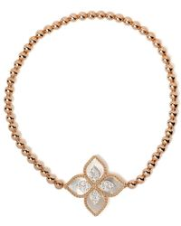 Roberto Coin 18kt Rose Gold Diamond Princess Flower Bead Bracelet - Pink