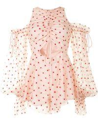 Alice McCALL Transparent-detail Floral-print Playsuit - Pink