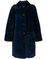 DESA NINETEENSEVENTYTWO シアリング コート - ブルー