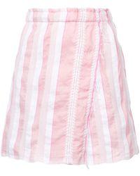 lemlem ストライプ ラップ ミニスカート - ピンク
