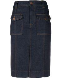 See By Chloé Denim Midi Skirt - Blue