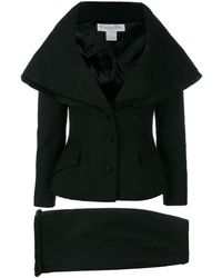 Dior ワイドカラー スカートスーツ - ブラック