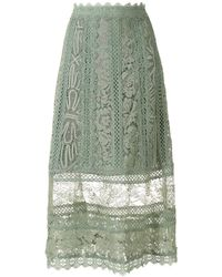 Martha Medeiros Jasmine A-line Midi Skirt - Green