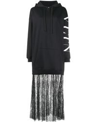 Valentino Vltn フーデッド ドレス - ブラック