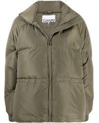 Ganni Oversized Zipped Puffer Jacket - Green