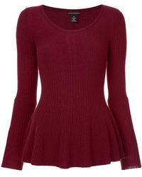 Sofia Cashmere Knitted Peplum Top - Red