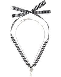 Miu Miu - Gingham Four Leaf Clover Necklace - Lyst