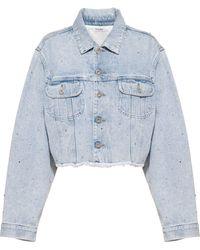 Miu Miu Rhinestone-embellished Denim Jacket - Blue