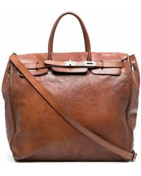 Eleventy Smooth Leather Holdall - Brown