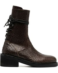 Ann Demeulemeester Cracked Lace-up Boots - Brown