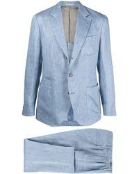 Brunello Cucinelli リネン シングルスーツ - ブルー