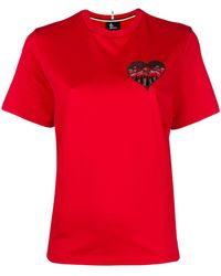 3 MONCLER GRENOBLE Heart Mountain Tシャツ - レッド