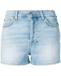 7 For All Mankind - Faded Denim Shorts - Lyst