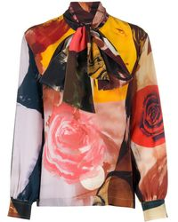 Ports 1961 Rose-print Pussy Bow Blouse - Multicolour