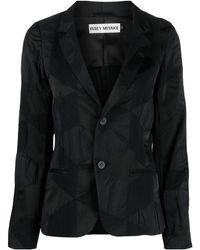 Issey Miyake テクスチャード シングルジャケット - ブラック