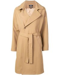 A.P.C. - Belted Double-breasted Coat - Lyst