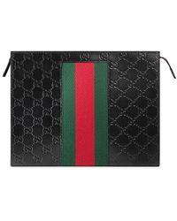 Gucci Signature Web Cosmetische Hoes - Zwart