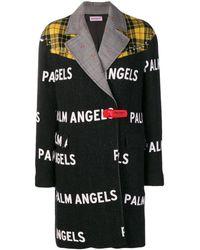 Palm Angels コントラストロゴ コート - ブラック