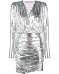 ANDAMANE Ruched Metallic Mini Dress