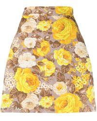 MSGM Floral Jacquard A-line Skirt - Yellow