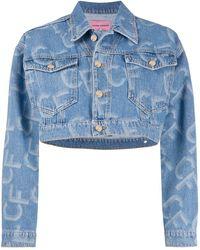 Chiara Ferragni Cropped-Jacke mit Logo-Print - Blau