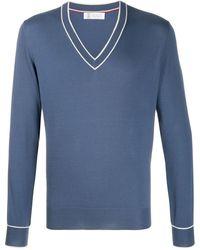 Brunello Cucinelli Свитер С V-образным Вырезом - Синий