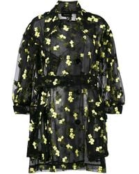 Simone Rocha Organza Flower Embroidered Trench - Black