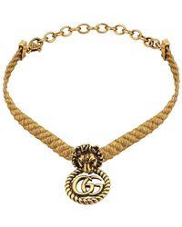 Gucci Choker con testa di leone - Metallizzato