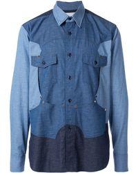 Fumito Ganryu カラーブロック シャツ - ブルー